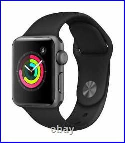 Apple Watch Series 3 38mm Space Gray Aluminum Case Black Sport Band (Sealed)
