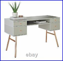 Argos Home Valence 4 Drawer Pedestal Desk Grey & Rose Gold