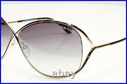 Authentic TOM FORD Womens Sunglasses Shiny Gold Grey Miranda TF130 28B Butterfly