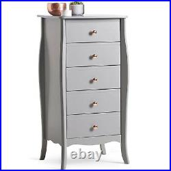 Beautify Grey 5 Drawer Narrow Chest of Drawers Vintage Style Rose Gold Handles