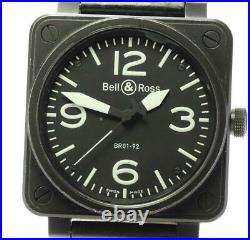 BellRoss Heritage BR01-92 black Dial Automatic Men's Watch Belt damaged F/Japan