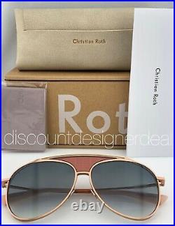 CHRISTIAN ROTH FUNKER Aviator Sunglasses Rose Gold Frame Gray Gradient Lens 60mm