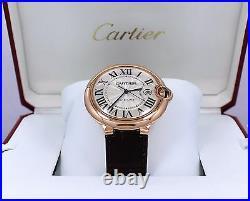 Cartier Ballon Bleu Jumbo 42mm W6900651 18K Rose Gold Leather Watch UNWORN
