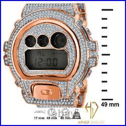 Casio G-Shock Custom DW 6900-Diverso Rose Gold 2 Tone Finish Simulated Diamonds