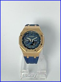 Casio G-shock GA2110ET-2A Watch AP Style Casioak Rose Gold Bezel and Blue Strap