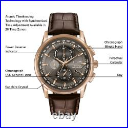 Citizen Men's Rose Gold Tone Leather World Time A-T Chronograph Watch AT8113-04H