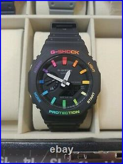 Custom Rainbow CasiOak Casio G-Shock GA2100-1A1ER High Visibility Hands