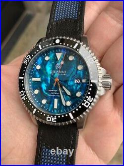 DEEP BLUE MASTER 1000 GEN2 Automatic Dive Watch Blue Abalone Nylon Leather Band
