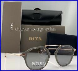 DITA KOHN Round Sunglasses DTS119-49-05 Rose Gold Gray Trans Light Gray Lenses