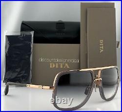 DITA MACH ONE Square Sunglasses Gray Transparent 18K Rose Gold Gray Gradient