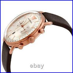 Emporio Armani Aviator Rose Gold & Brown Leather Chronograph Men's Watch AR11106