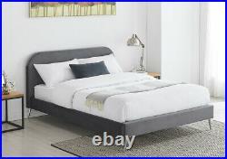 Fabric Bed Velvet Frame Double King Size Plush Headboard 4FT6 5FT Mattress Grey
