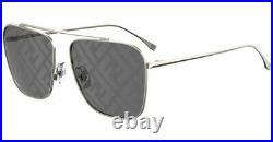 Fendi FF FAMILY FF 0406/S 2F7/MD Gold Grey Mirror Monogram Aviator Sunglasses