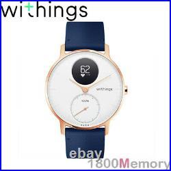 GENUINE Withings Steel HR 36mm Multi-Sport Hybrid Smart Watch Blue Rose Gold