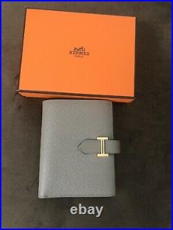 Hermes Compact Bearn Wallet Epsom Gris Asphalte Grey RoseGold HW Great Condition