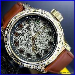 Invicta Vintage Excalibur Swiss Made 52mm Brown Leather Gold Tone Watch New