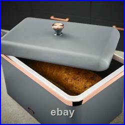 NEW Cavaletto Bread Bin & Canisters Grey & Rose Gold Kitchen Storage Set