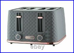 NEW-DESIGN DIAMOND Beautiful Grey & Rose Gold Kettle And 4 Slice Toaster Set D