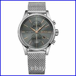 NEW HUGO BOSS Chronograph Mens Watch Steel Mesh Strap Grey HB1513440 Genuine