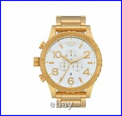 NEW Nixon Watch 51-30 Chrono A083508 Gold And White Mens A083-508 Genuine