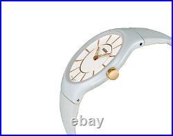 NWOT Ladies Rado Thinline R27958109 White & Rose Gold Rubber Strap Quartz Watch