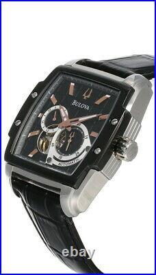 New Bulova BVA Dual Aperture Dial Auto LTHR Men's Watch 98A118