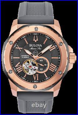 New Bulova Marine Star Open Heart Black Dial Silicon Band Men's Watch 98A228