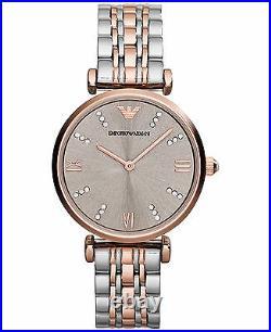 New Emporio Armani Ar1840 Ladies Two Tone Watch 2 Year Warranty Certificate