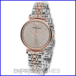 New Emporio Armani Ladies Gianni Gold T-bar Diamonte Watch Ar1840 Rrp £329
