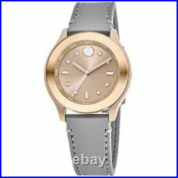 New Movado Bold Rose Gold-Tone Dial Silicone Strap Women's Watch 3600718