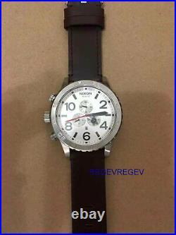 New NIXON Watch 51-30 CHRONO Silver Brown A124-1113 A1241113 GENUINE Mens