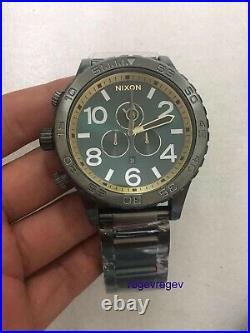 New NIXON Watch 51-30 GUNMETAL SPRUCE BRASS A083-2789 genuine A0832789 &