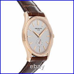 Patek Philippe Calatrava Manual 37mm Rose Gold Mens Strap Watch 5196R-001