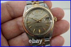 Rolex 1600 Datejust Rose Gold & Stainless Steel Mint Jubilee Bracelet Dates 1972