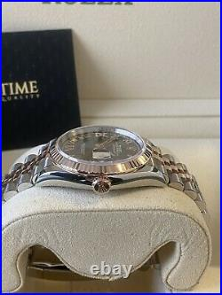 Rolex Date Just 36mm Steel & Gold Roman Dial With Dimond 6 & 9 / 126231