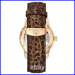 Stuhrling Hand-wind 40mm Tourbillon Meteorite Dial Alligator Leather Men's Watch