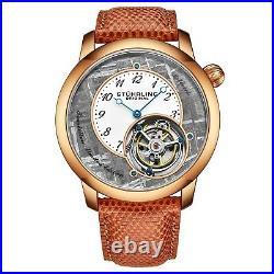 Stuhrling Meteorite 880 Hand-Wind Tourbillon Genuine Lizard Strap Men's Watch