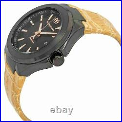 TechnoMarine MoonSun Men's Rose Gold & Black TM-117016 Leather Watch 44mm