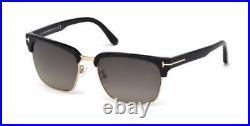 Tom Ford River FT0367 01D Black & Gold Polarised Sunglasses Sonnenbrille Size 57