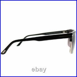 Tom Ford River TF 367 01D Shiny Black Gold Sunglasses Grey Polarized Lens