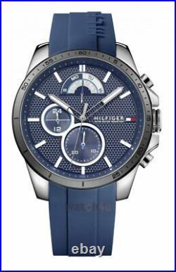 Tommy Hilfiger Decker Blue Rubber Strap Mens Designer Chronograph Watch 1791350