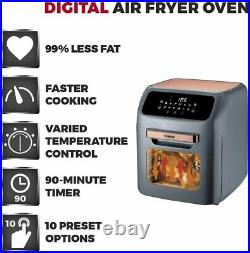 Tower T17064 Digital Air Fryer Oven, 12 Litre Grey and Rose Gold