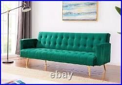 Velvet Sofa Bed Grey Pink Blue or Green With Rose/Golden Legs Elegant Sofabed